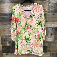 J Jill Women's Pink Tropical Floral Pop Over Tunic Top Top Size Medium