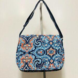 Vera Bradley Marrakesh Blue Orange Paisley Large Messenger Crossbody Bag