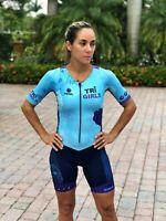 Triathlon BLUE LEI Cycling Suit Swim Run Womens Medium