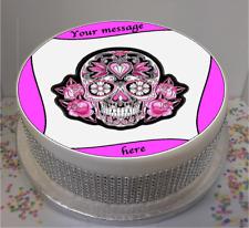 "Personalised Pink & Black Sugar Skull Image 7.5"" Edible Icing Cake Topper"