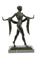 Exotic Nude Dancer Art Deco Style Statue Figurine Bronze Sculpture Figure Decor