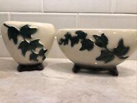 Vintage Royal Copley Ivy Vine Art Pottery Planters Decor