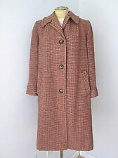VGC Vtg 60s Harris Tweed Mottled Red Brown Beige Wool Overcoat Coat Ladies M