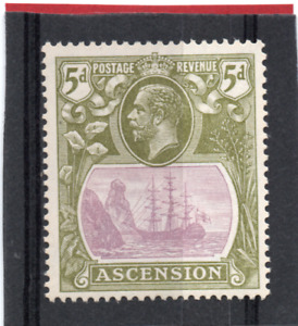 Ascension GV  1924-33  5d purple & olive-green sg 15d VLH.Mint