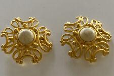 Clip Earrings Vintage Flower Yellow