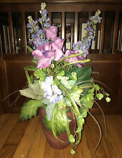 NWT Teters Spike Flowers Purples Blue Lilac Rose Hydrangea Arrangement In Vase