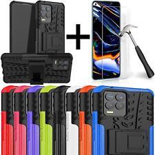 Für Realme 8/8 Pro Schutzhülle Stoßfeste Rüstung Ständer Handy Cover + Hartglas