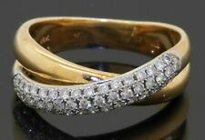 Heavy 18K gold 1.0CTW diamond cluster crossover cocktail ring size 9