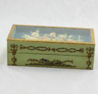 "Antique Green Florentine Wood Desk Box Paper Shadowbox Flowers Under Glass 8"""