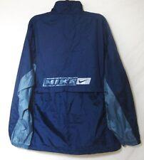 NIKE Navy Blue Nylon Windbreaker Zip Front Mesh Lined Warm Up Jacket Mens XL