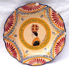 HENRIOT QUIMPER Lourdes J Le Tanneur Plate Corbeille Decor French Hand Painted