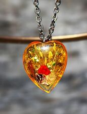 Gold heart made from lucite in dray grass shell  inclusions silver tone NECKLACE