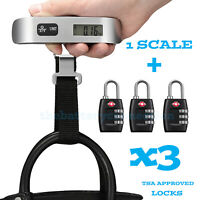 3xTSA Approve Combination Travel Luggage Suitcase Bag Lock Hanging Scale Weight