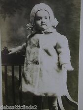 Vintage Real Photo Postcard-Darling Little Girl in Fuzzy Coat-Hat-Gloves-Chair