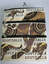 1x Australian Souvenir Travel Bags 3 Zipper Compartment  - Aboriginal Kangaroo