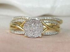 14K Yellow Gold Finish Round Cut Diamond Engagement Bridal Ring Set Wedding Band