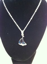 """NEW Beautiful Sailboat Abalone Shell Pendant on 18"""" Silver Chain Necklace"""