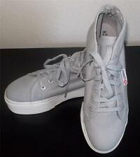 SUPERGA MS SIZE 7 1/2 LIGHT GREY CHUNKY WHITE SOLE FASHION HI- TOP CANVAS SHOES