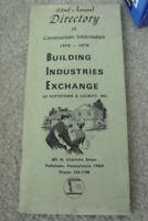 Vintage 1974 Booklet Directory Construction Information BIE Pottstown Pa