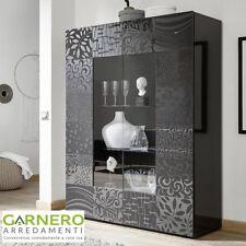 Vetrina MIRO grigio laccato lucido 2ante serigrafato madia design moderno sala