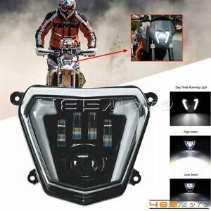 For 13-17 690R 12-19 690 Nake Bike Enduro LED Headlight Kit Angel Eyes w/ DRL
