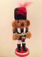 "Soldier Nutcracker Wooden Plush Bear Christmas Holiday Drummer Decoration 9"""