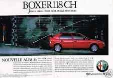 Publicité Advertising 1986 (2 pages) Alfa Romeo Alfa 33 Boxer 118 ch