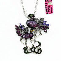 Women's Crystal Flamingo Bird Pendant Chain Betsey Johnson Necklace/Brooch Pin