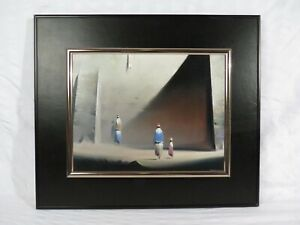 "Robert Watson ""The Wall"" Three Figures in a Surrealist Landscape - Oil painting"