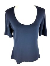 Peter Hahn Womens Scoop Neck Top Sz 12 US 14 UK Navy Blue Short Sleeve Tee Shirt