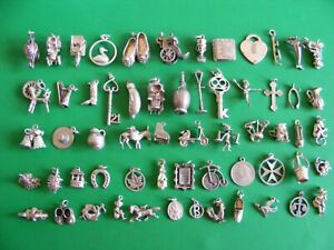 C) VINTAGE STERLING SILVER CHARMS CHARM 18 21 KEY CROSS HAT BELLS CRAB BOOT HARP