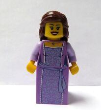 LEGO Female Girl Minifigure  Lilac Dress Long Brown Hair Princess  Bride Maid