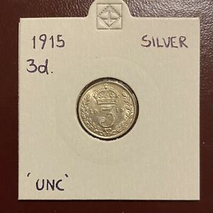 1915 George V Silver Threepence Uncirculated UNC