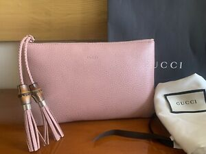 GUCCI Bamboo Tassels Zip Pouch Clutch Bag in Powder Pink Leather NEW WITH TAGS