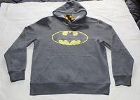 DC Comics Batman Logo Mens Grey Printed Hoodie Jumper Top Size XL New