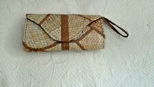 """Mix Color Straw Clutch Bag  Faux Leather Wristlet 7.5 x 4"""" Small Lined in Fabric"""