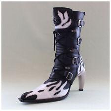 New Rock Stiefel Gr. 41 Malicia Stiefeletten schwarz mit weißen Flammen (#2624)