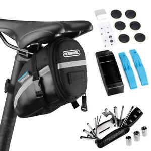 16 in 1 Bike Repair Tool Kits Bicycle Saddle Bag Cycling Seat Pack Repair U5Q9