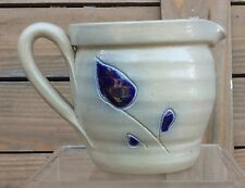 COLLECTIBLE POTTERY SMALL PITCHER COBALT BLUE AND GRAY SALT GLAZED