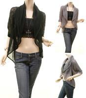 Haute Boho Hippie Lace Knit Ruffle Cascade Open Cardigan Vest Sweater Top S M L