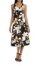 BASQUE Petites Vee Neck Sketchy Lily Print Midi Dress sz 8 NWT Rrp $129.95
