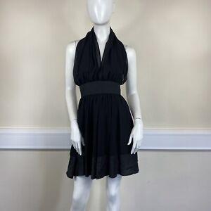 Miss Selfridge Ladies Black Sheer Chiffon Halter Neck Short Dress UK Size 8