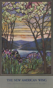 "LOUIS COMFORT TIFFANY Magnolia and Irises 39"" x 24"" Offset Lithograph 1987 Art"