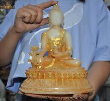 """10""""Tibet Temple Old Jade gilt Carved Sakyamuni Shakyamuni Medicine buddha Statue"""