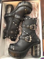DEMONIA Gothic Womens Platform Vegan sz 7 Ankle Boot Rivet SINISTER-201 Black PU