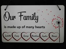 Personalised Plaque Our Family Hearts Gift Sign Christmas Present up to 6 names