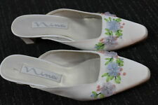 Women's Nina Satin cloth leather sole mules slip-on heels Casual Shoes Size 7 M