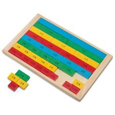 WOODEN FRACTIONS BOARD - COLOURFUL FUN CHILDRENS EDUCATIONAL MATHS TOY