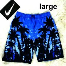 Nike Palm Tree Print Swim Trunk Blue Drawstring Lined Mens Size L Large