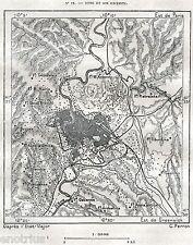 Piccola Carta Topografica di Roma e Dintorni. Lazio. Latium. Stampa Antica. 1887